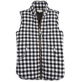 BLACK AND WHITE CHECK QUILTED VEST