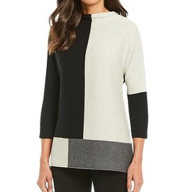 MULTIPLES BLACK AND GREY COLOR BLOCK SWEATER