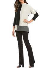 MULTIPLES BLACK AND GREY COLOR BLOCK  SWEATER BY MULTIPLES