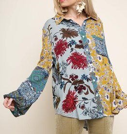 UMGEE UMGEE FLORAL MIX PUFF SLEEVE BLOUSE