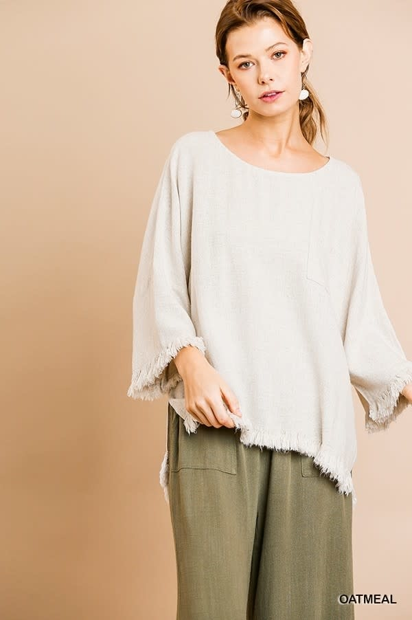 UMGEE UMGEE FRAYED HI/LO BELL SLEEVE TOP