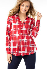 LIVERPOOL LIVERPOOL RED PLAID POPOVER TOP
