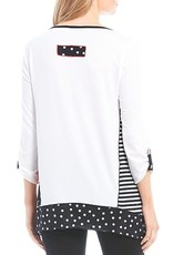 MULTIPLES MULTIPLES BLACK & WHITE TUNIC WITH GROMMET DETAIL SLEEVE
