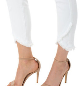 LIVERPOOL ABBY CROP FRONT SCALLOP WHITE  JEAN