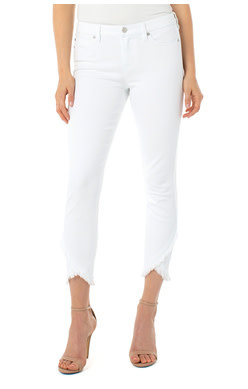 LIVERPOOL LIVERPOOL ABBY CROP FRONT SCALLOP WHITE  JEAN