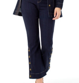 LIVERPOOL DENIM FLAIR CROP WITH HORN BUTTON DETAIL