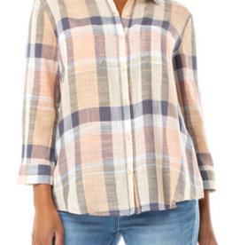 LIVERPOOL LIVERPOOL PLAID TULIP BACK TOP