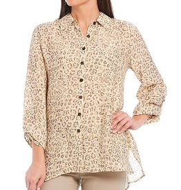 MULTIPLES MULTIPLES ROLL TAB ANIMAL PRINT BLOUSE