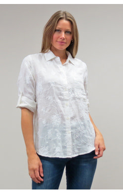 KYLA WHITE LINEN EMBROIDERED BLOUSE