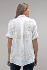 KYLA WHITE LINEN BLOUSE W/TAUPE EMBROIDERY