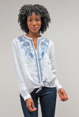 KYLA WHITE LINEN W/BLUE EMBROIDERY TIE FRONT BLOUSE