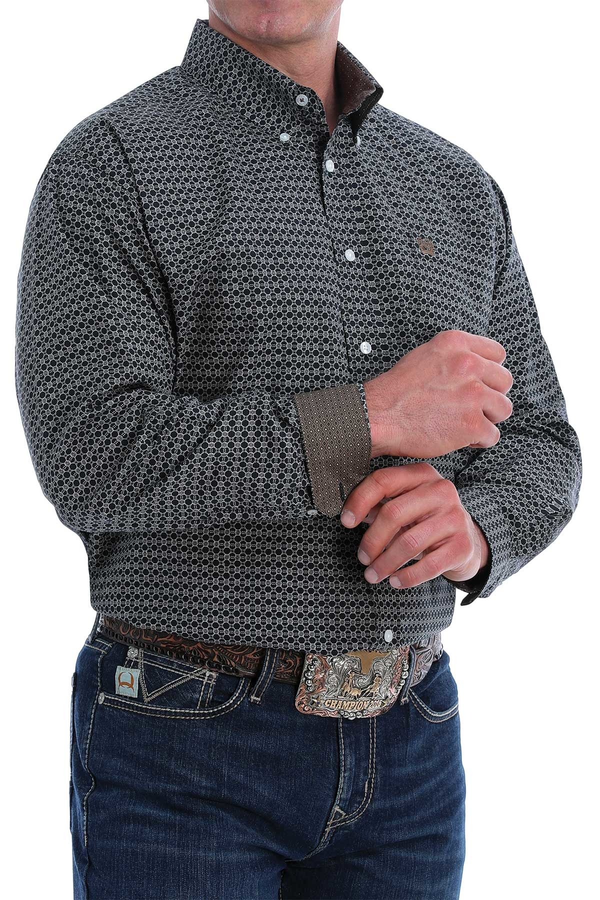 CINCH LONG SLEEVED SHIRT BLK PRNT