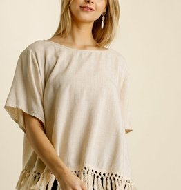 UMGEE UMGEE LINEN BLEND TOP WITH HEAVY FRINGE