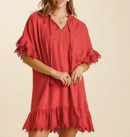 UMGEE UMGEE LINEN BLEND SHORT SLEEVED DRESS EYELET TRIM (3 COLORS)