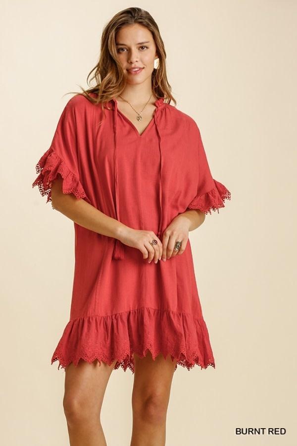 UMGEE UMGEE LINEN BLEND S/S DRESS EYELET TRIM