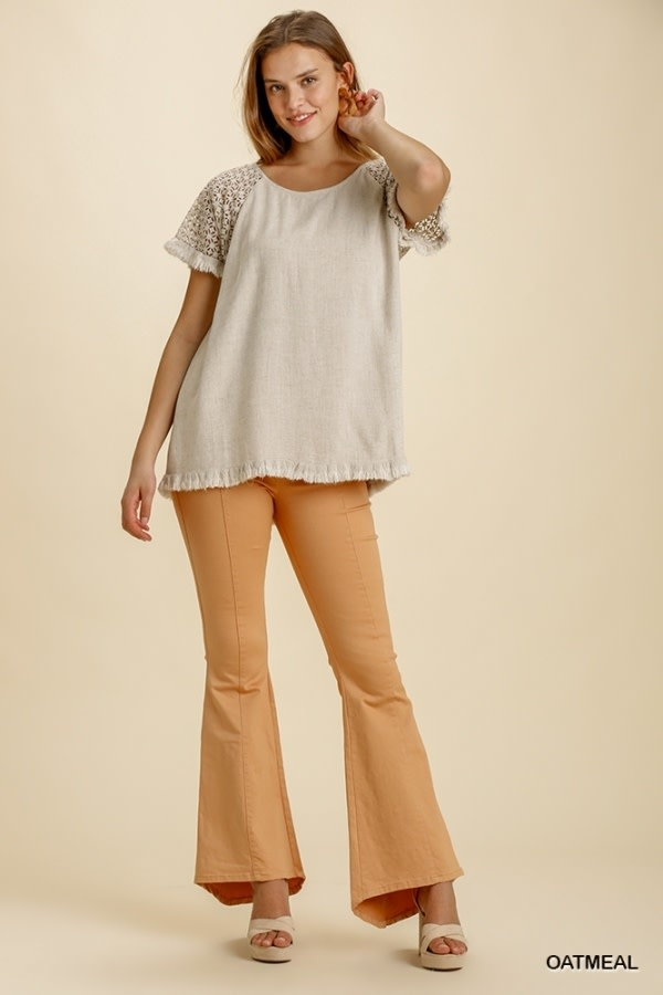 UMGEE UMGEE LINEN BLEND TOP WITH CROCHET SLEEVE(3 COLORS)