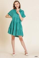 UMGEE UMGEE TIERED COLLARED SHORT SLEEVED DRESS