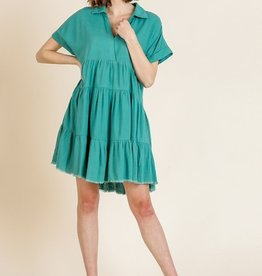 UMGEE UMGEE TIERED COLLARED SHORT SLEEVED DRESS (2 COLORS)