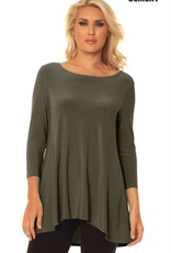 ALISHA D SCOOP NECK HI/LO TRAVEL TUNIC