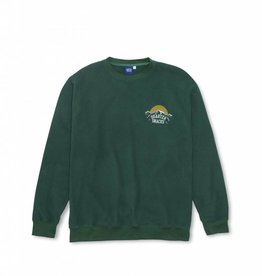 QUARTER SNACKS QUARTER SNACKS MOUNTAIN LOGO MICROFLEECE CREW - HUNTER GREEN
