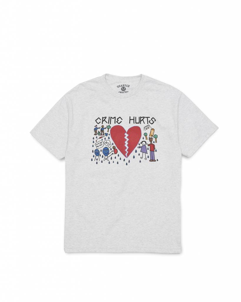 QUARTER SNACKS QUARTER SNACK CRIME HURTS TEE - ASH GREY
