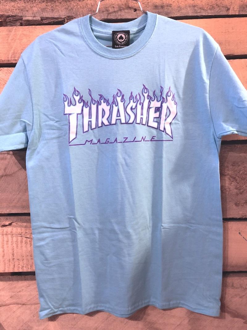 THRASHER MAGAZINE THRASHER FLAME TEE - SKY BLUE