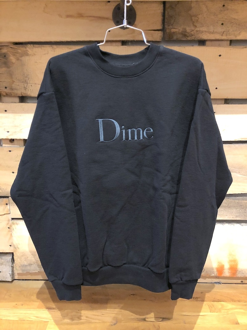 DIME DIME CLASSIC EMBROIDERED CREWNECK - BLACK