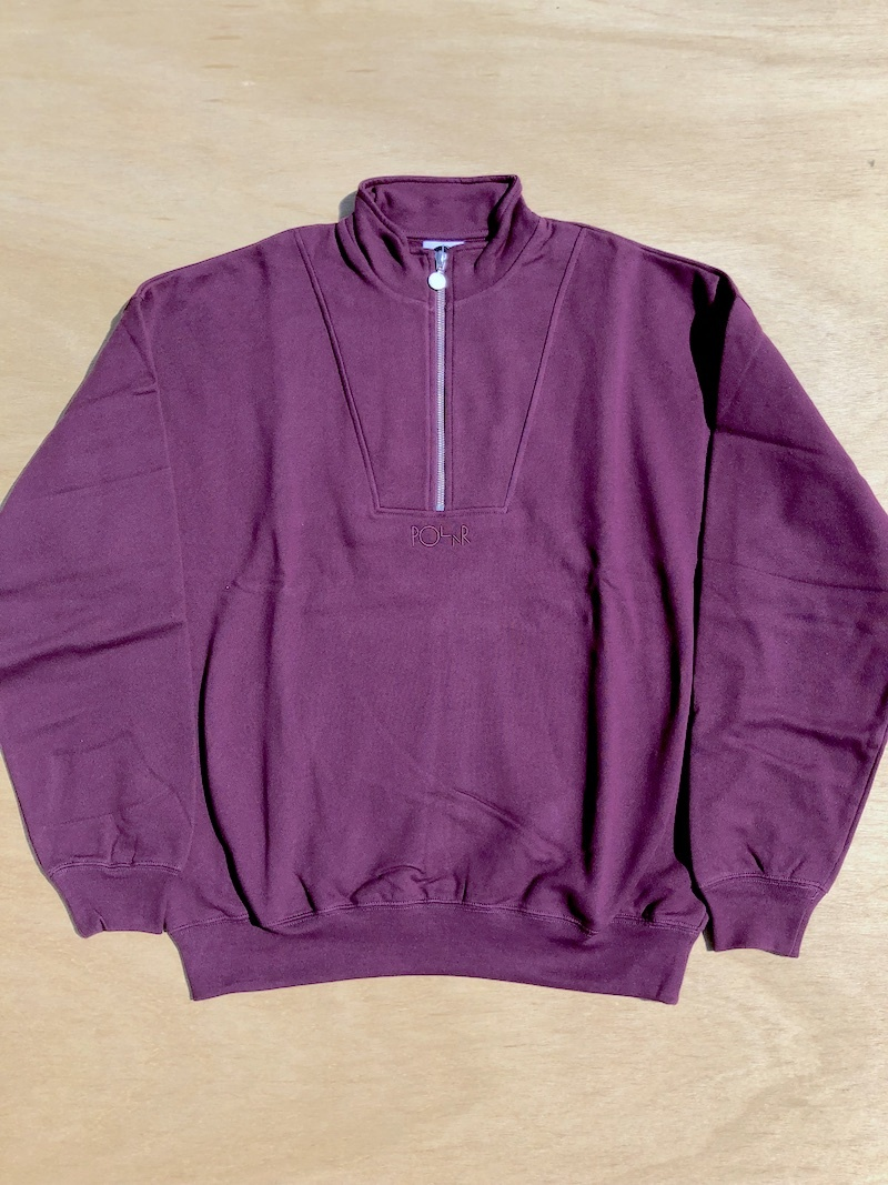 POLAR SKATE CO POLAR ZIP NECK SWEATSHIRT - PRUNE