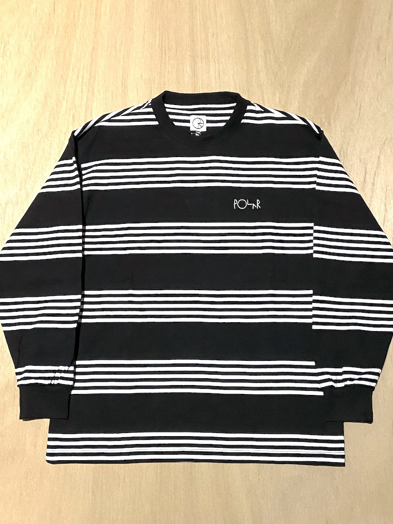 POLAR SKATE CO POLAR STRIPED L/S TEE - BLACK