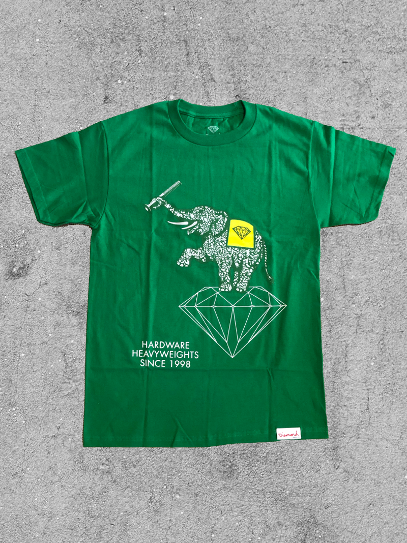 DIAMOND SUPPLY CO DIAMOND HEAVYWEIGHTS TEE -  GREEN