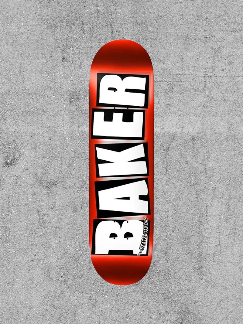 """BAKER BOYS DISTRIBUTION BAKER BRAND LOGO RED FOIL 8"""" DECK"""