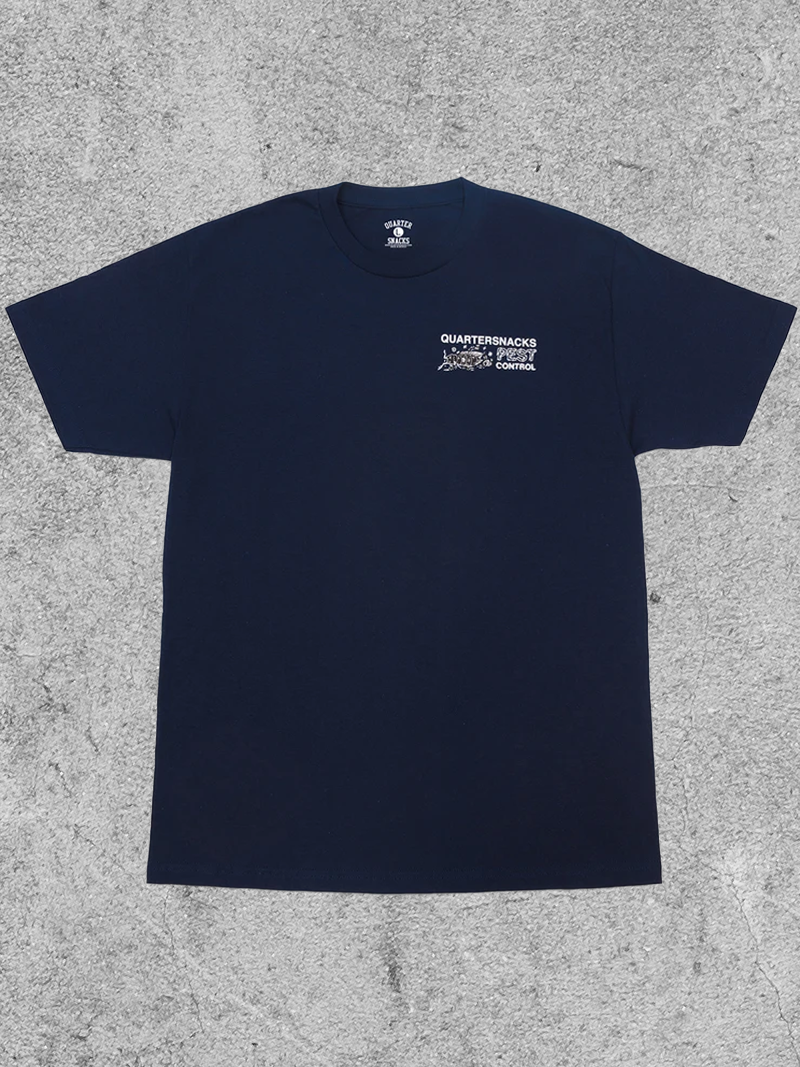 QUARTER SNACKS QUARTER SNACKS PEST CONTROL TEE - NAVY