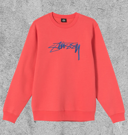 STUSSY STUSSY SMOOTH STOCK EMBROIDERED CREW - PALE RED