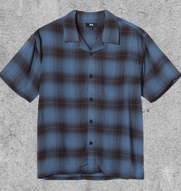 STUSSY STUSSY BOXY SHADOW PLAID - BLUE
