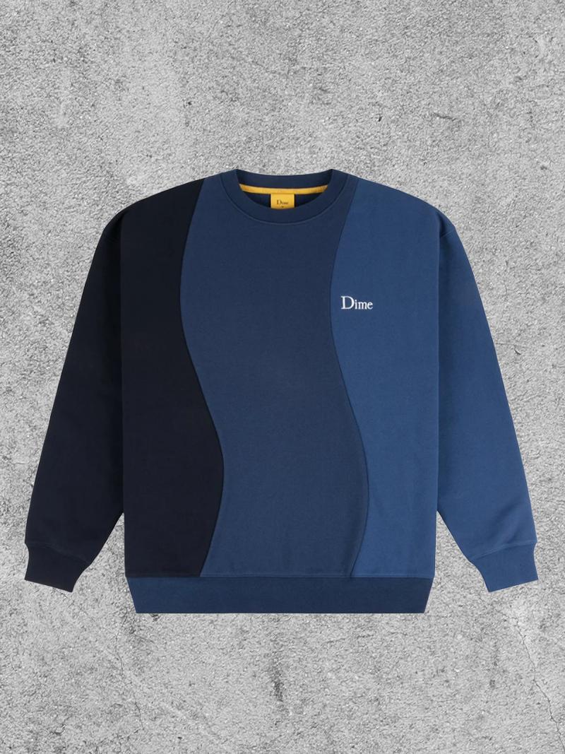 DIME DIME WAVY 3-TONE CREW - BLUE