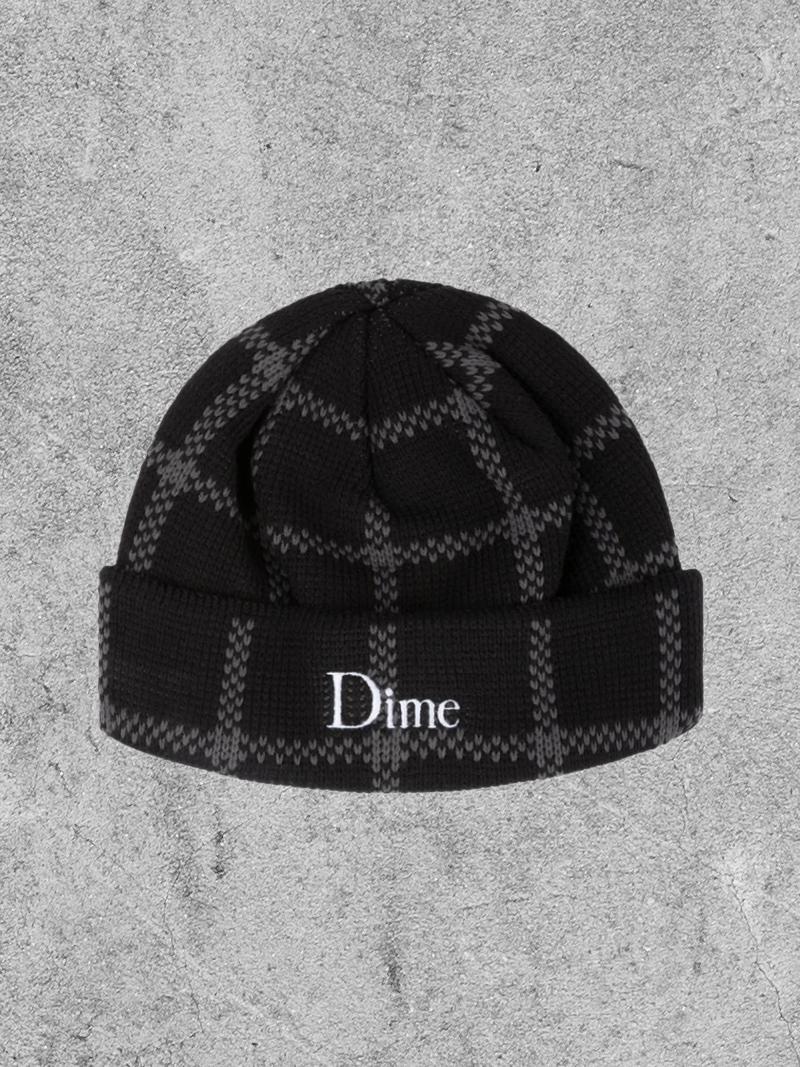 DIME DIME CLASSIC PLAID BEANIE - BLACK