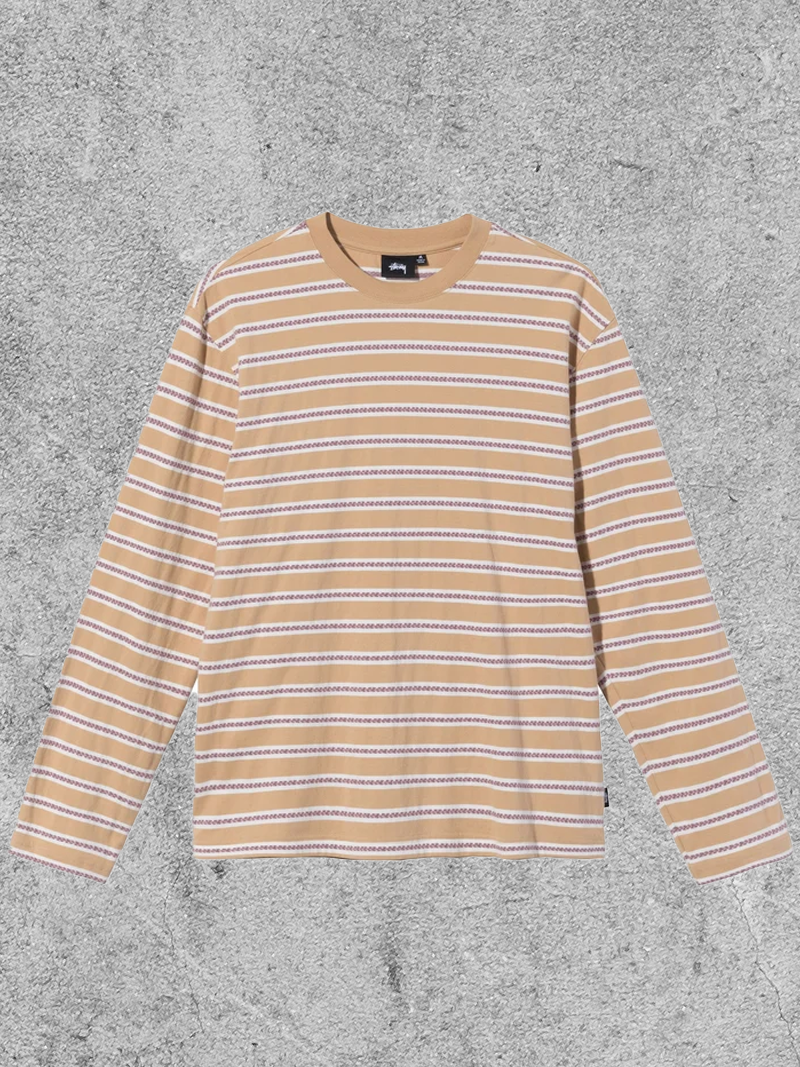 STUSSY STUSSY MULTI COLOR STRIPED CREW - YELLOW