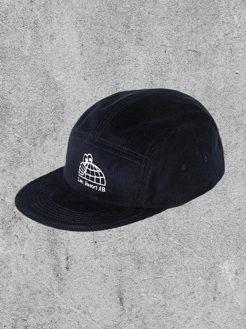 LAST RESORT LAST RESORT HALF GLOBE CORD 5-PANEL HAT - BLACK