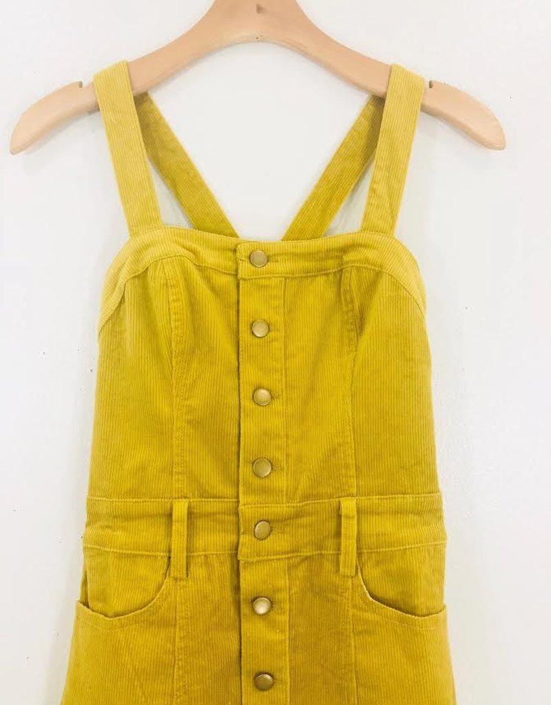 Honey Punch Honey Punch Cord Button Front Midi Dress