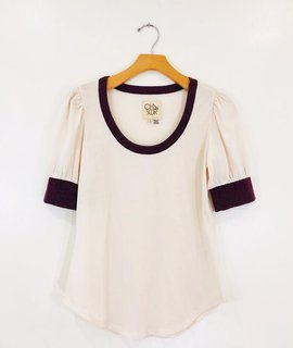 Chaser Brand Chaser Blocked Jersey Puff Sleeve