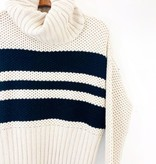 Chaser Brand Chaser Striped Turtleneck Bell Sleeve Sweater