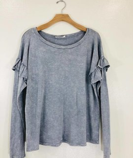 Wild Honey Vintage Wash Ruffle Sleeve Knit