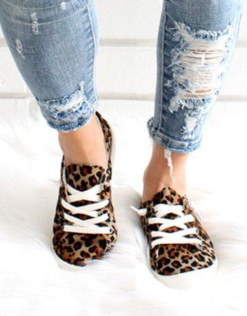 L.A Shoe King Leopard Canvas Sneaker