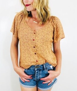 Lush Clothing Lush Flutter Sleeve Buttoned Blouse