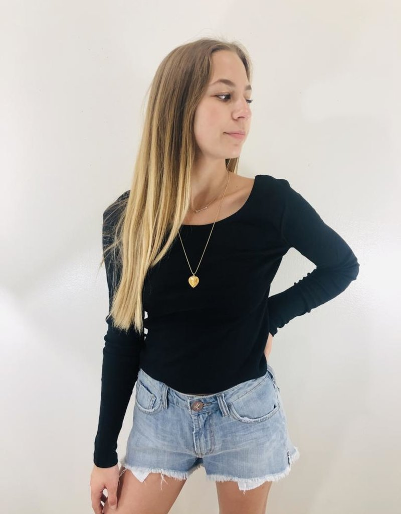 Chaser Brand Chaser Long Sleeve Double Scoop Crop Top
