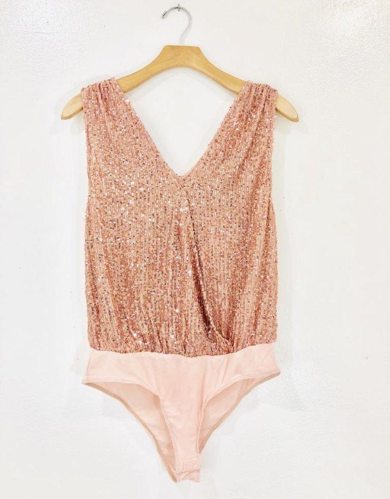 Lush Clothing Lush Sequin Plunge Bodysuit