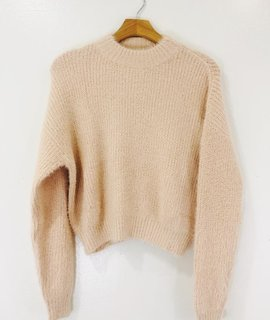 Audrey 3+1 Angora Knit Long Sleeve Sweater