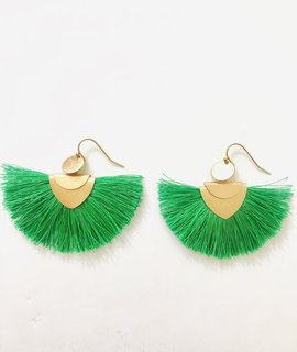 H&D Accessories Salt and Freckles Green Fringe Earrings