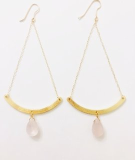 Natali Mour Gold Filled Rose Quartz Earring