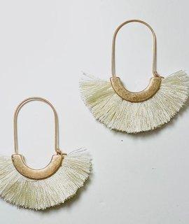 Fashionistar Fringed Fan Hoop Earrings